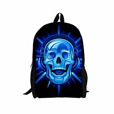 "16""Cool Skull Kids School Backpack For Junior School Boys Back to School Bookbag"