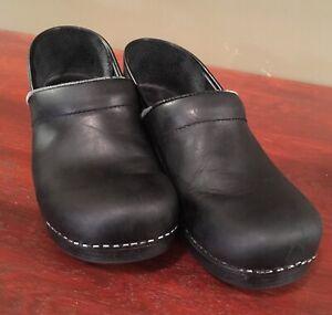 Dansko Black Leather Clogs size 10 (40