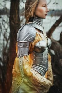 Medieval-Women-armor-pair-of-pauldrons-and-metal-gorget-Knight-Shoulder-Cosplay