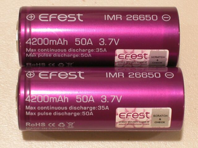 2 PURPLE Efest IMR 26650 HIGH DRAIN 50a BATTERY 3.7v Rechargeable Li-MN 4200mAh