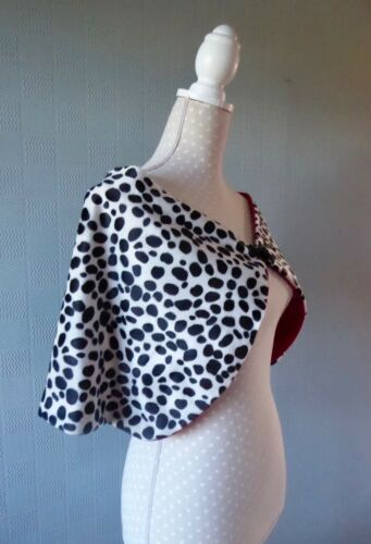 Cruella de ville costume cape Dalmatian spotted fancy dress wrap animal print