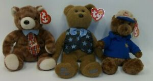 Lot 3 Fathers Day Ty Beanie Babies - Pappa 2004 - All Star Dad - #1 Dad