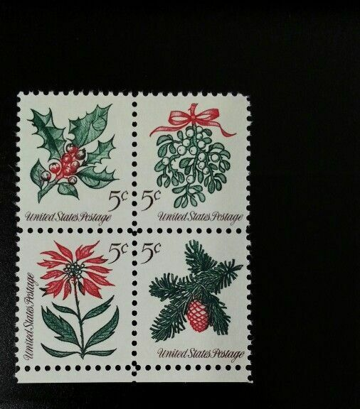 1964 5c Christmas Flowers, Block of 4 Scott 1254-57 Min