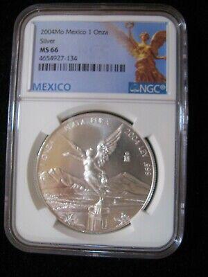 2004-Mo Mexico Silver Libertad 1 Onza NGC MS-66-177024