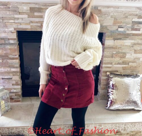 Women/'s Burgundy Corduroy Snap Button Front Ribbed Fall Winter Mini Skirt Wine