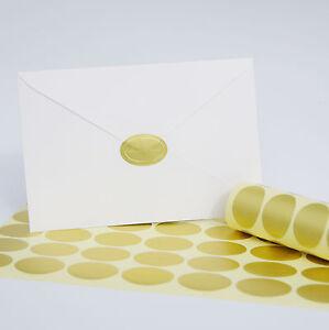 100 pack gold oval foil embossed wedding invitation envelope seal
