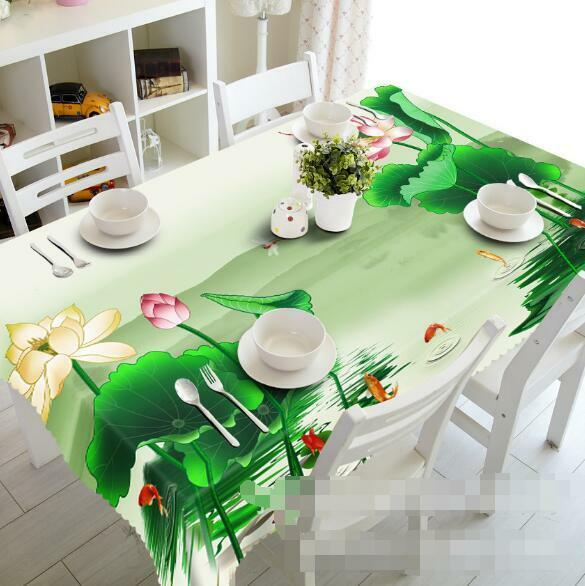 3D Lotus 857 Tablecloth Table Cover Cloth Birthday Party Event AJ WALLPAPER AU