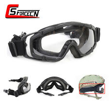 Tactical Airsoft Military Black Goggle Ballistic Glasses for Helmet w/Side Rails