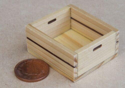 1:12 scale Single Large Size Wooden Tray Box Crate Dolls House Boutique Accessory G