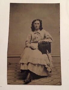 Tintype-Photo-Vintage-Photograph-Young-Woman-on-Chair-Antique-Tin-Type