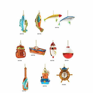 4057723 Dept 56 Bunch-of-Bass Fish Glass Ornament Gone to Beach Lake Cabin Lodge