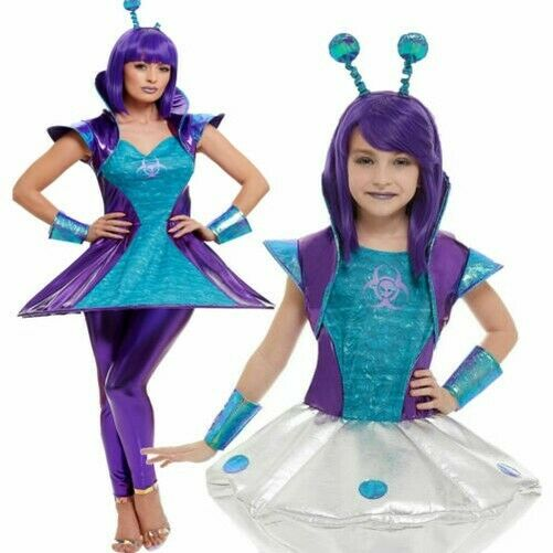 Adults Alien Costume Ladies Kids Aliens Fancy Dress Outer Space Outfit