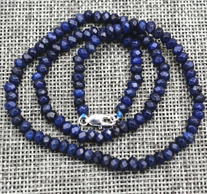 New-2x4mm-Faceted-Blue-Sapphire-Handmade-Gemstone-necklace-18-034-Silver-clasps-AAA