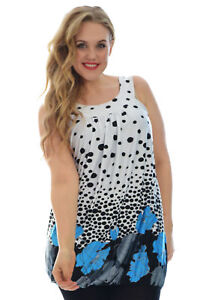 a1bd51ba30615 New Womens Top Floral Print Bubble Hem Polka Dot Sleeveless Plus ...