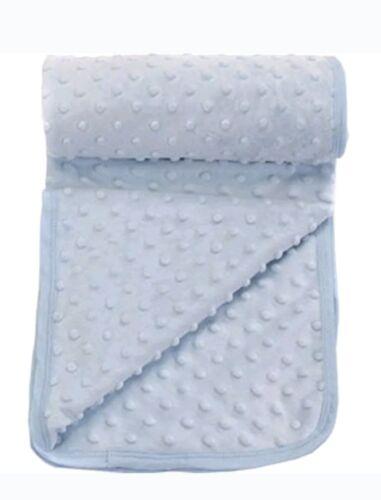 Super Soft Velour Baby Popcorn Blanket Blue fit Pram Moses Basket