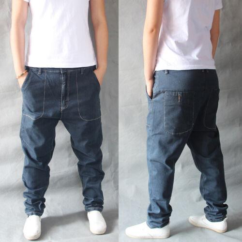 Men Harem Jeans Denim Pants Trousers Drop Crotch Loose Baggy Hip Hop Street