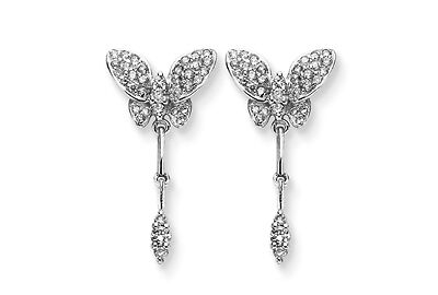 0.55 CT ROUND DIAMOND 14K WHITE GOLD BUTTERFLY EARRINGS