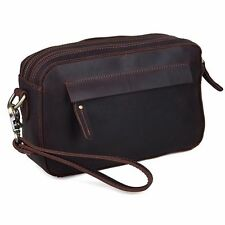 Men's Real Leather Large Clutch Purse Messenger Bag Handbag Zipper Wallet