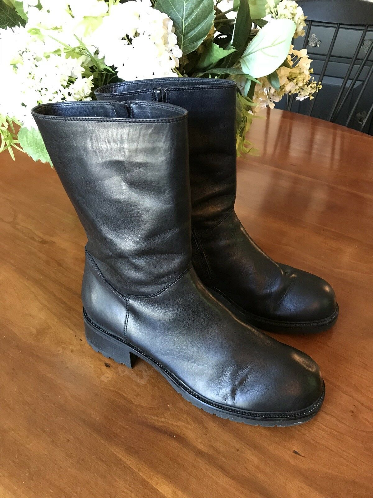 Women's J Crew Black Leather Ankle Booties RubberSole Size 11