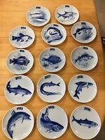 Porcelæn, Fiske platter, 14 fiske platter. , Fin