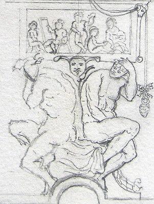 Allegorie SchÖne KÜnste Fries Girlanden Art Original-bleistift-zeichnung 1882
