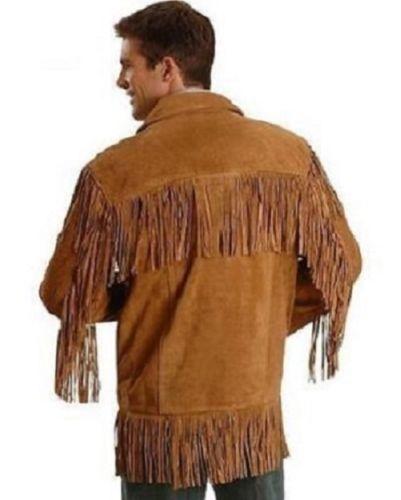 pelle stile da frange in western cowboy da con Cappotto scamosciata uomo americano tqvTnO8x7