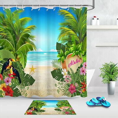 Bathroom Decor Fabric Shower Curtain Set Hooks Hawaiian Beach Tropical Plants