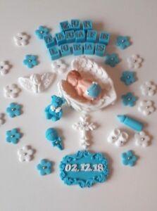 Details Zu Baby Taufe Geburt Tortendeko Torte Aufleger Zuckerfigur Fondant Kuchen