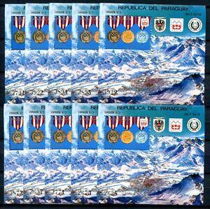 10x-PARAGUAY-1976-Olympiade-Olympics-Innsbruck-Block-276-MNH-KW-220