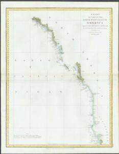 Details about 1798 Antique Map NORTH WEST COAST AMERICA Mt. St. Elias  Graham Isle Perouse (M4)