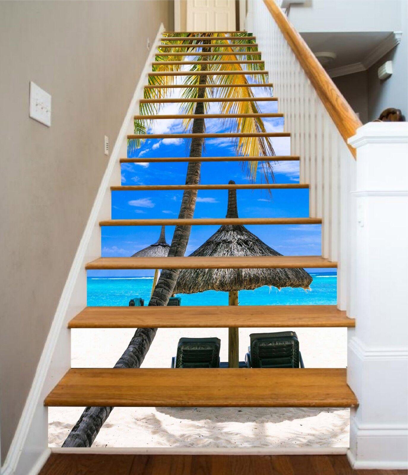 3D Beach Arbor Sky Stair Risers Decoration Photo Mural Vinyl Decal Wallpaper US