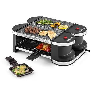 mini party tisch raclette grill 2 heisse granit steine vier pfannen 600 watt ebay. Black Bedroom Furniture Sets. Home Design Ideas