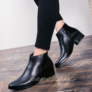 Schwarz Stiefeletten Herrenschuhe Spitz Blockabsatz Ankle