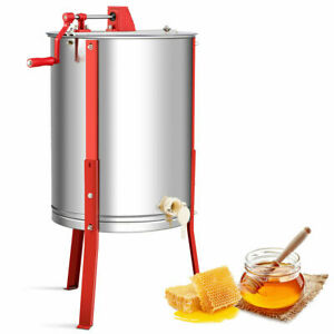 Stainless-Steel-4-Frame-Honey-Extractor-Beekeeping-Equipment-w-Adjustable-Stand