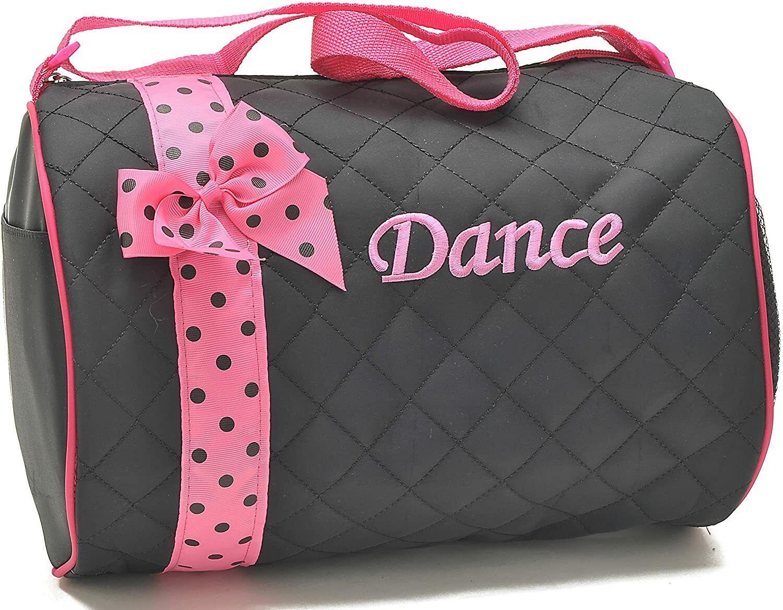 Girls Dance Duffle Bag Kids Quilted Ribbon Polka Dots Light Pink Black Totes Bag
