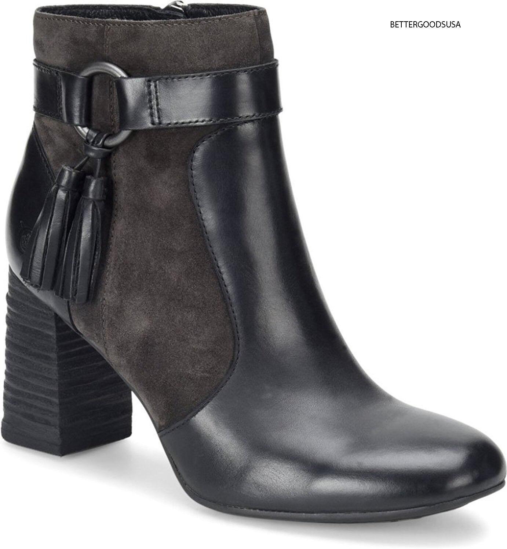 Nacido Nacido Nacido mujeres toco botas al tobillo Botines de cuero con Borlas Cremallera Lateral Negro, gris Oscuro 8 M  Venta barata