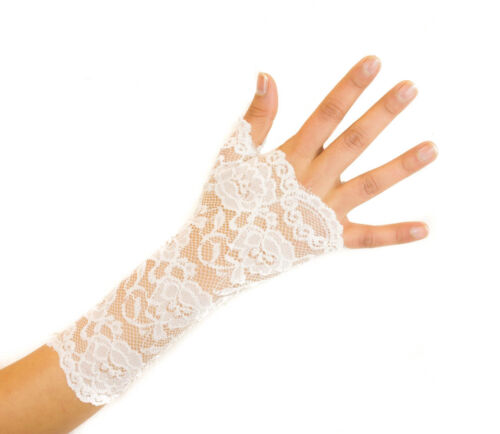 Women/'s Delicate Floral Lace Short Fingerless Gloves Cream For Prom Wedding New