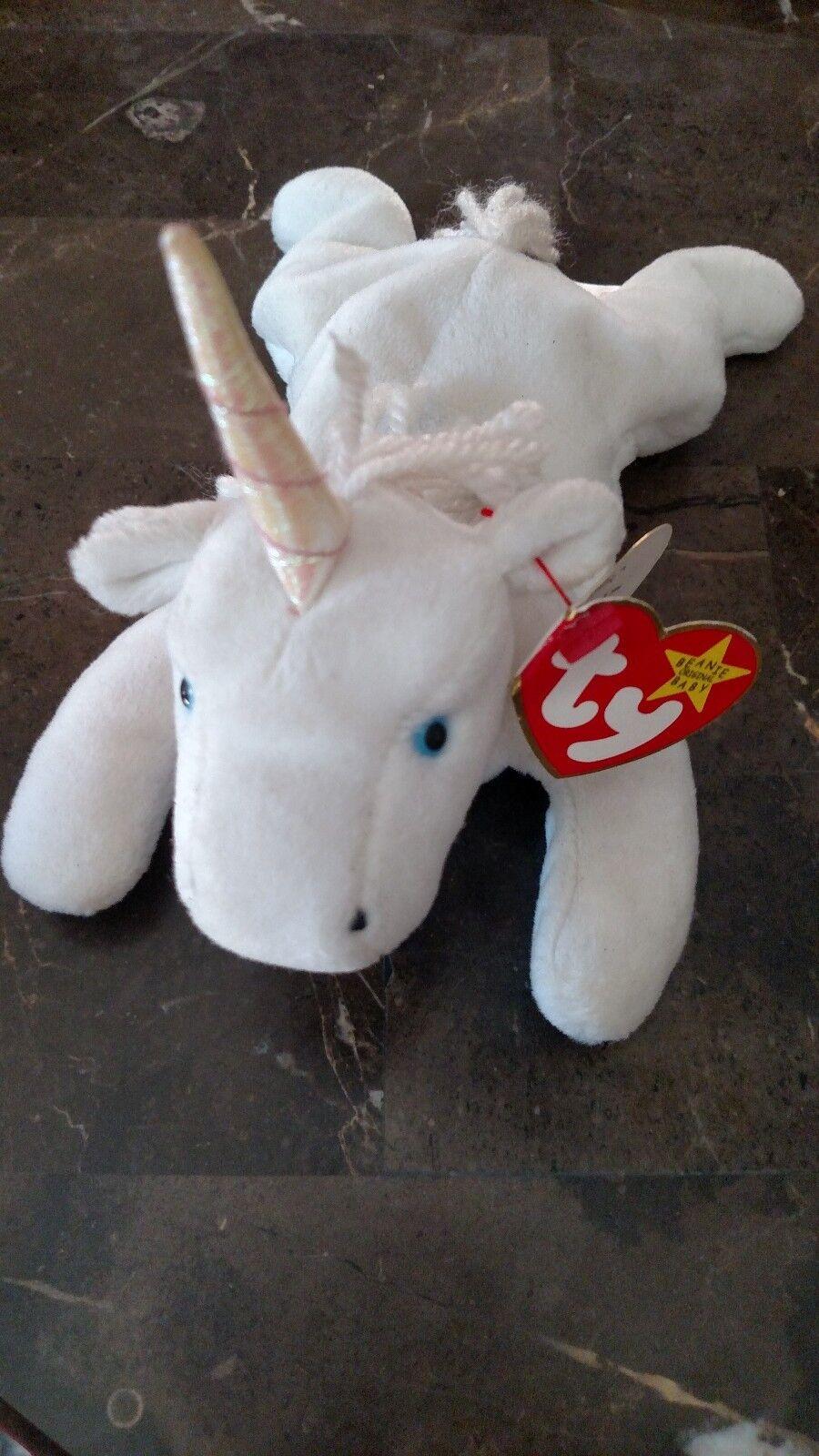 TY beanie baby mystic unicorn tag error. 1993 94  sparkle horn
