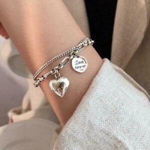 Fashion 925 Silver Love Heart Double Layer Chain Bracelet Couple Women Jewelry