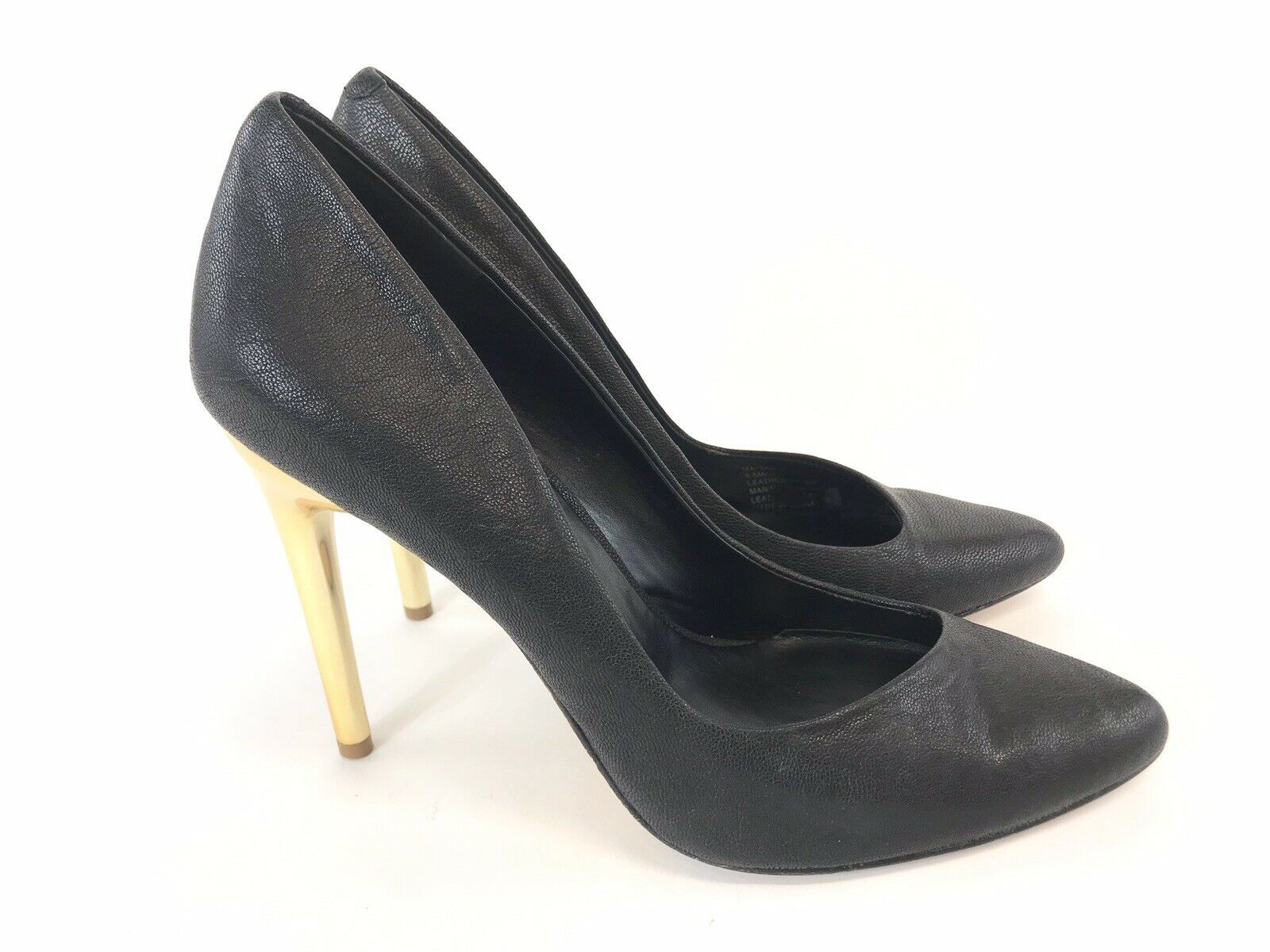 Bcbg Maxazria Ladies Black Leather Court High Heels Stiletto shoes US8.5 M UK6.5