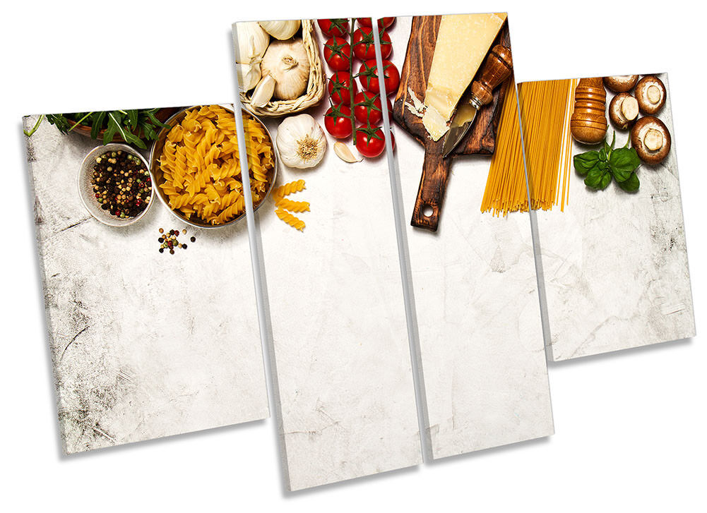 Cooking Fresh Ingrotients Framed CANVAS PRINT Four Panel Wall Art