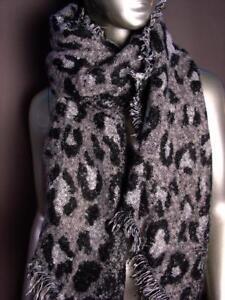 EXOTIC-Soft-Black-Gray-Leopard-Print-Crochet-Knit-Long-Asymmetric-Wrap-Scarf