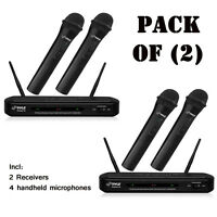 Pack Of (2) Pyle Pdwm2130 Fm Wireless Dual Microphone Systems W/ 4 Mics on Sale