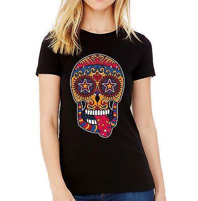 Velocitee Ladies Vest Day Of The Dead Four Sugar Skulls Dia Muertos A22576