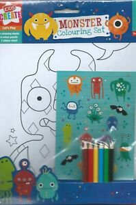 Cute-Funny-Monsters-Party-Supplies-Gifts-Colouring-Set-inc-Stickers-amp-Pencils