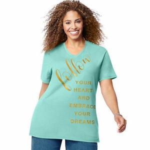 Just-My-Size-JMS-Plus-Size-Green-Tee-Shirt-Heart-Dream-Short-Sleeve-3X-4X-5X