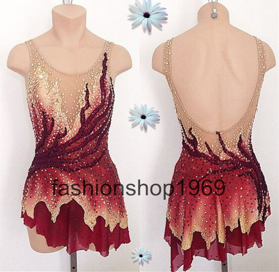 Läckert Ice Figur Skating Dress Baton Twirling Dans Dress Competition x330