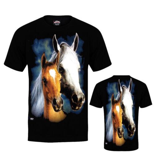Ladies Women Wild Free Horses  Stallion Pony Cute T Shirt Both Side Print S-XXL