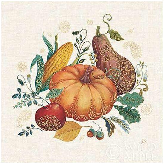 Daphne Brissonnet  Spice Season VII Keilrahmen-Bild Leinwand Kürbis Herbst bunt