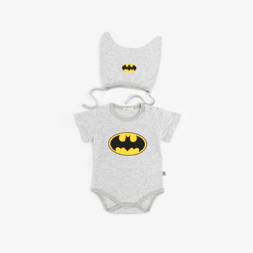 BABY SUPERMAN//BATMAN ROMPER HAT//BIB NEWBORN BOY GIRL BABYGROW OUTFITS CLOTHES